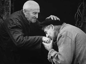 Forgiveness old men BW